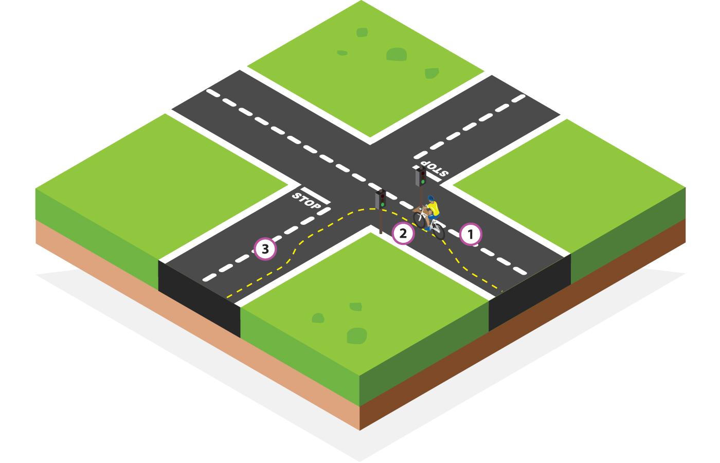 Traffic lights single left turn