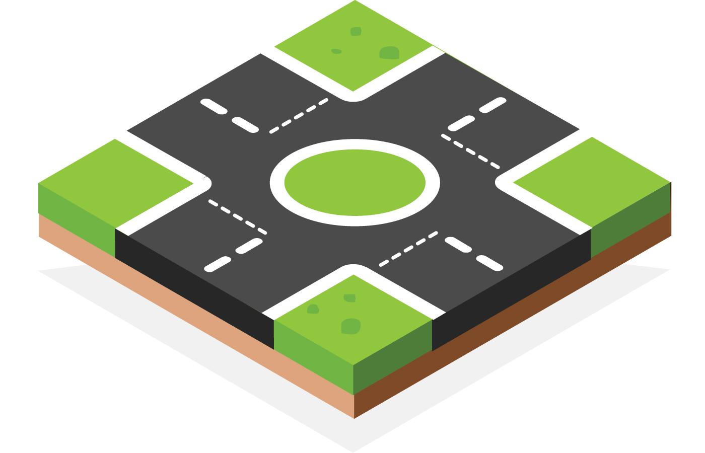 Give way at a major roundabout