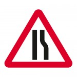 Warning road narrows from the right