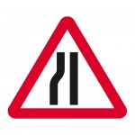 Warning road narrows from the left